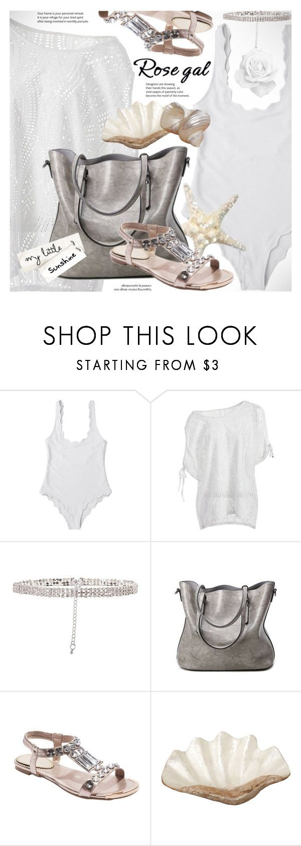 """""""ROSEGAL lovely white scalloped swimsuit"""" by vn1ta ❤ liked on Polyvore featuring Pearl Dragon"""