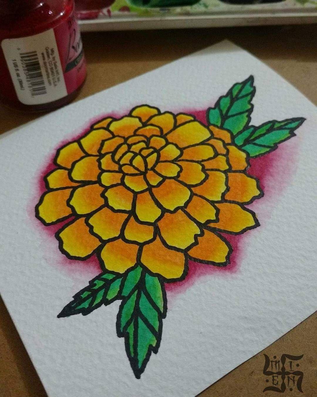Cempasuchil Tattoo Flowertattoo Diademuertos Flower Tattoos Flower Painting Simple Line Drawings