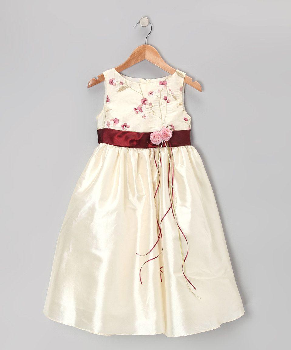 Loving this Kid's Dream Ivory & Burgundy Dress - Toddler & Girls on #zulily! #zulilyfinds