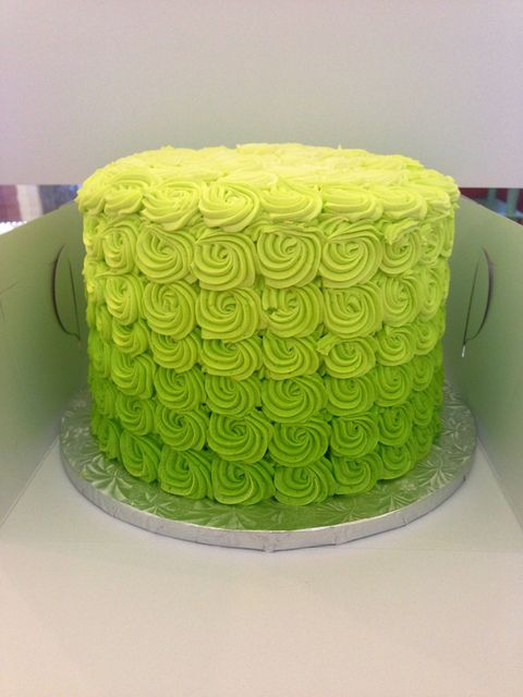 Society Bakery Rose Ombre Cake Neon Lime Green