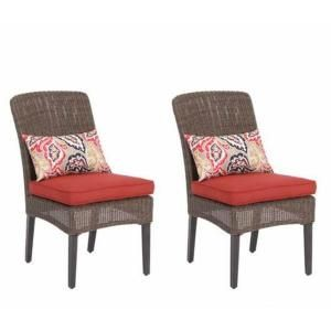 Home Depot 217 For Set Of 2 Hampton Bay Walnut Creek Patio Dining Chair With Red Cushion Pack