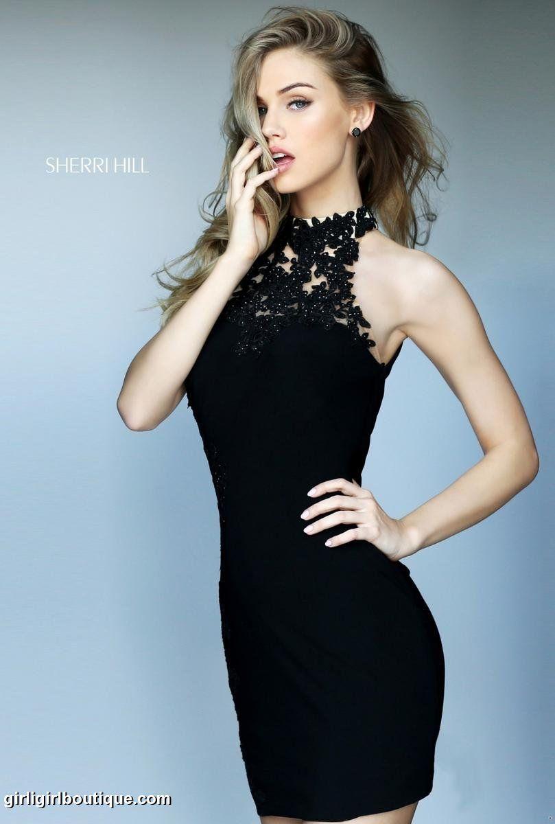Fitted black dress with an embroidered side and neck line. Find this Pin  and more on 2016 Sherri Hill Homecoming ...