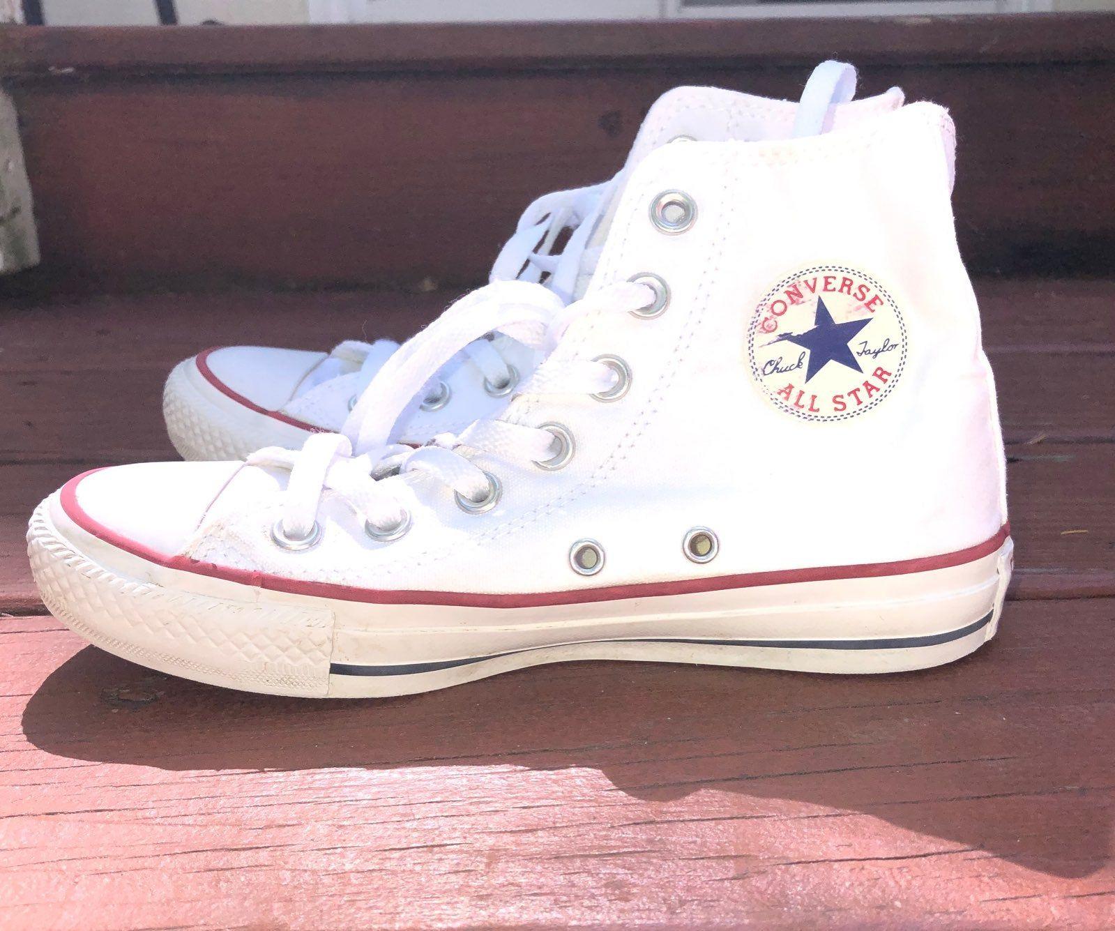 White high top converse women's size 5