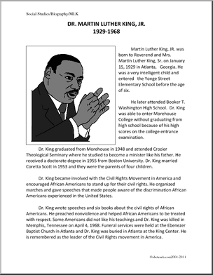 biography martin luther king jr upper elementary a one page biography martin luther king jr upper elementary a one