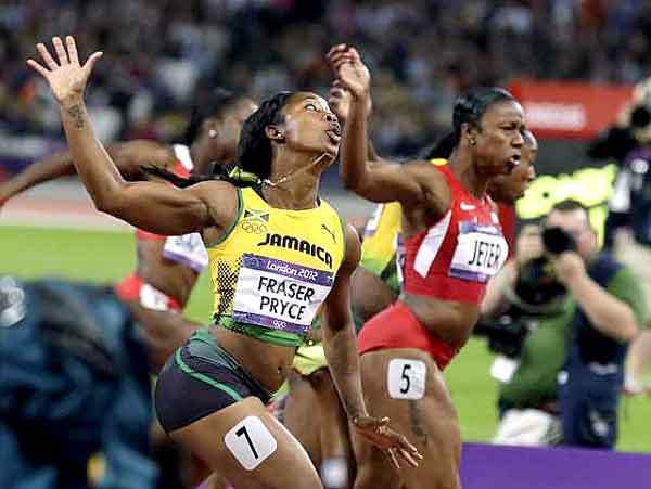 Shelly-Ann Fraser-Pryce, Carmelita Jeter, what a finish!