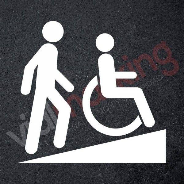 Plantilla pintar señal rampa silla de ruedas | Señalización ...
