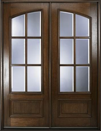 Double Front Doors With Arched True Divided Lites Front