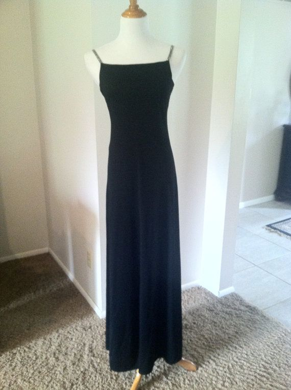 Vintage Long Black Evening Gown With Rhinestone Straps Lord & Taylor