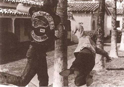 When in doubt, knock em out. A California Hells Angel lays some stank on someone. Not sure the origin of the pic, but I sure love it.
