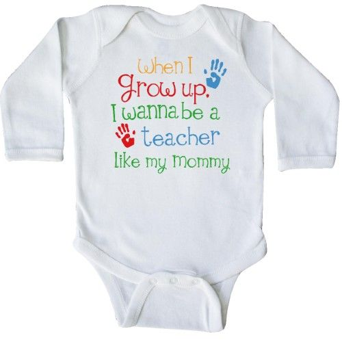 Inktastic Teacher Like Mommy Long Sleeve Creeper Child's Kids Baby Gift Teacher's Daughter Childs My Cute Occupation Apparel Job Future Handprints Hws, Boy's, Size: 12 Months, White