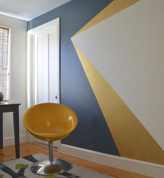La peinture g om trique pour sublimer vos murs bureau pinterest la peinture mur et jaune - Decoration chambre peinture murale ...