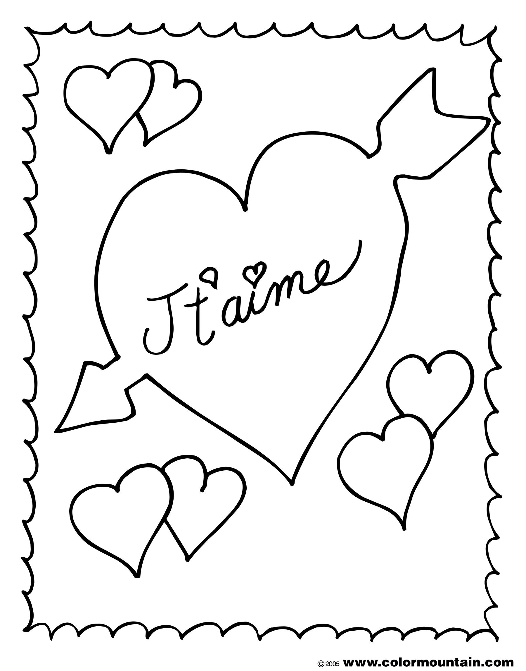 French valentine coloring page
