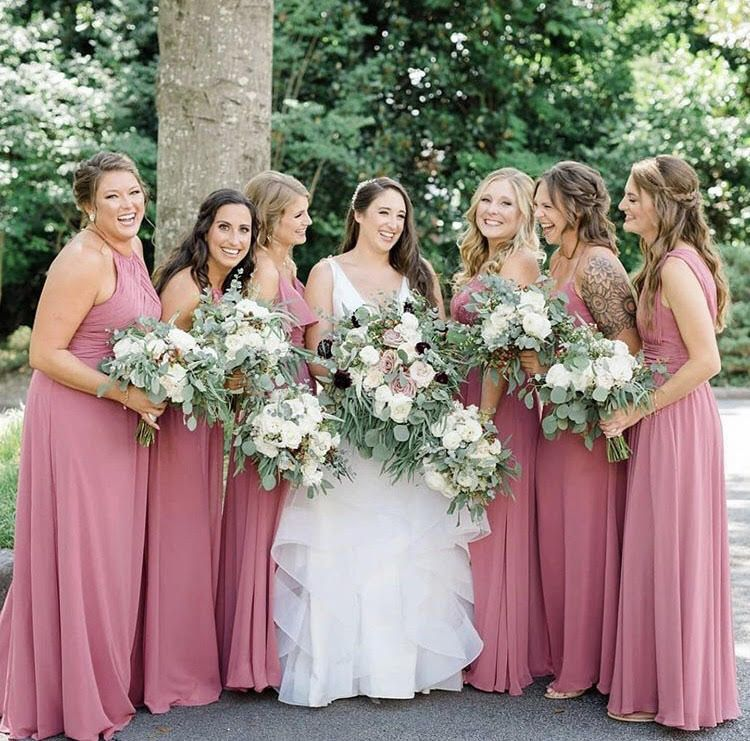 Love These Bridesmaids In The Color Rosewood Rosewood Wedding