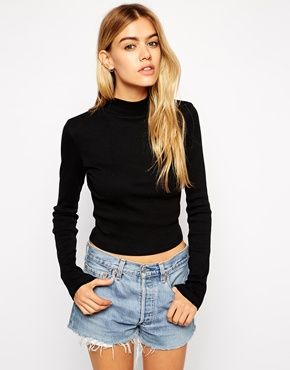 d7e72e68b59dd9 ASOS Crop Top with Turtleneck and Long Sleeves in Rib
