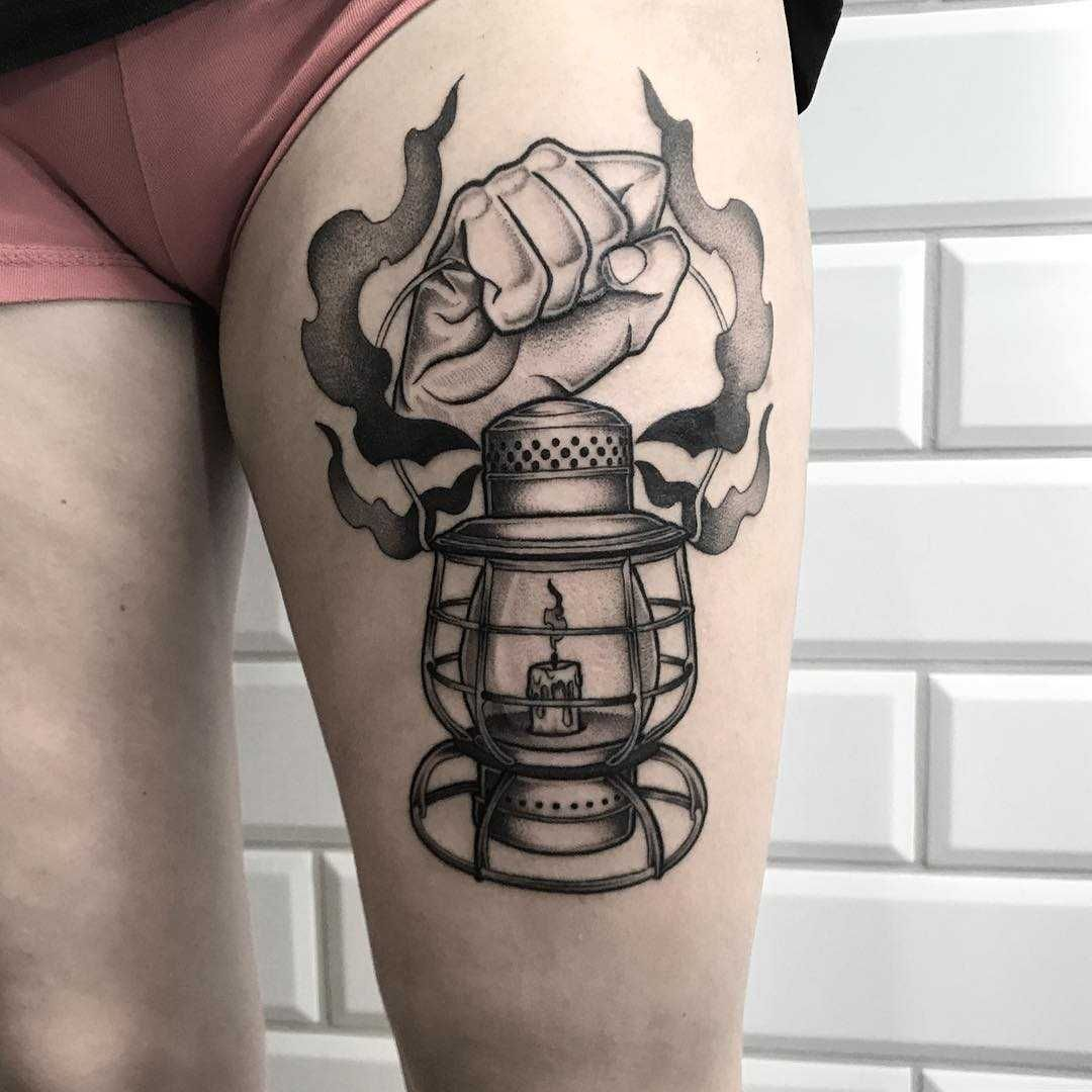 Lamp Tattoo For A Miner Inked On The Left Thigh Lamp Tattoo Tattoos Dragon Tattoo Designs