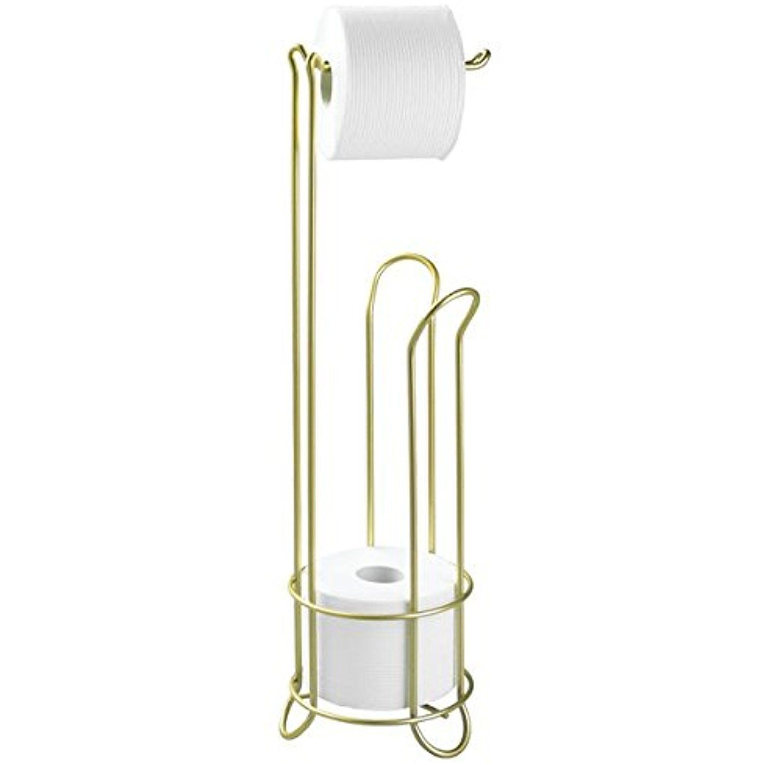 Mdesign Free Standing Toilet Paper Holder For Bathroom Storage Gold Brass Click Image Toilet Paper Holder Pedestal Toilet Paper Holder Toilet Paper Stand