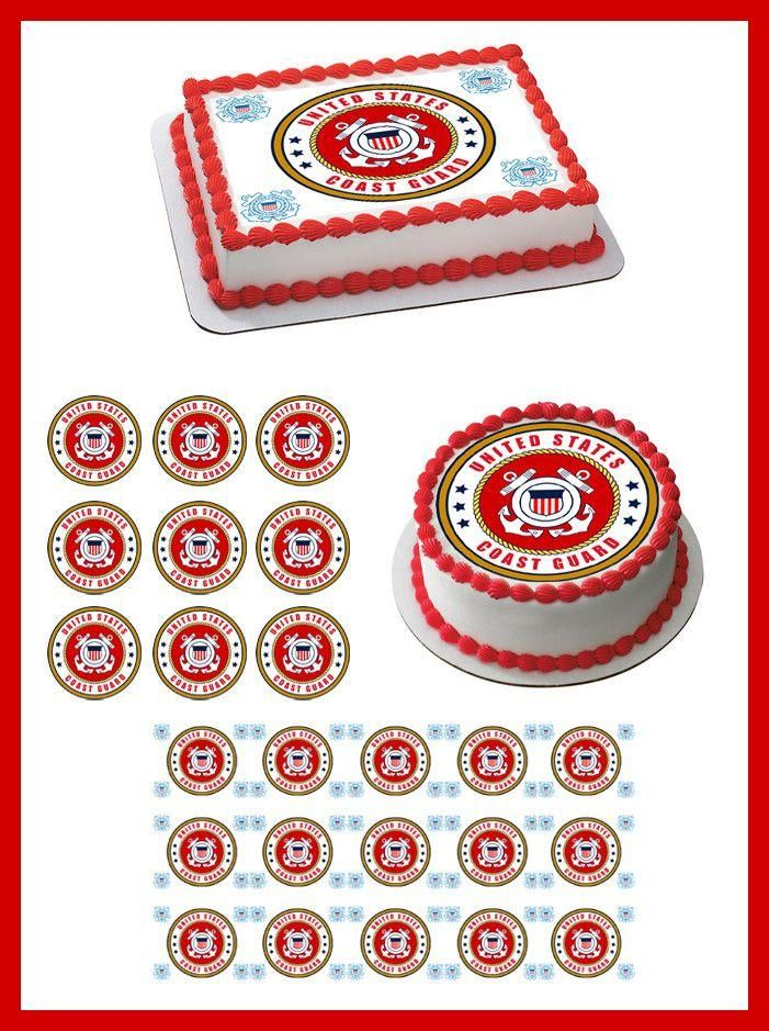 United States Marine Corps Cake Topper Edible Image Frosting Circle