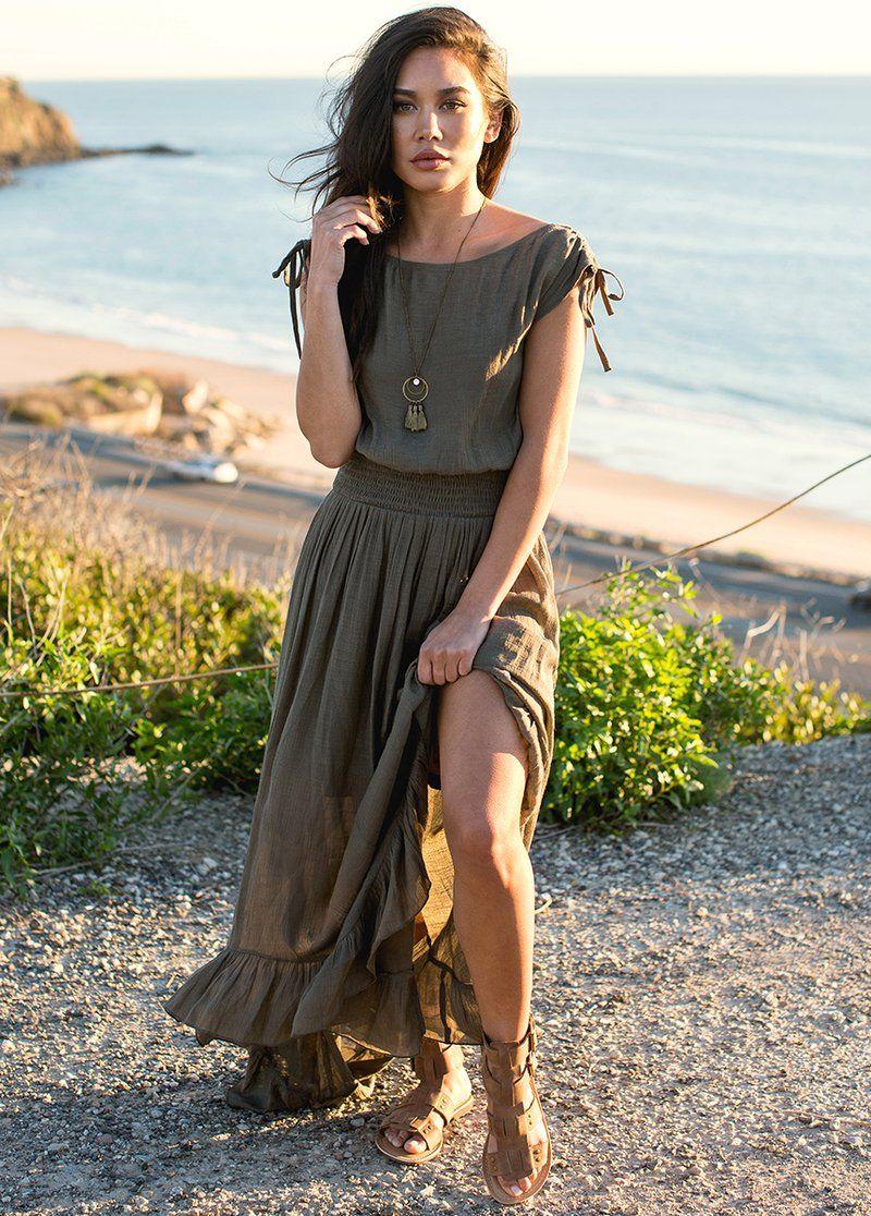 New Gia Dress In Olive Boho Skirt Outfit Maxi Dress Green Boho Skirts [ 1116 x 800 Pixel ]