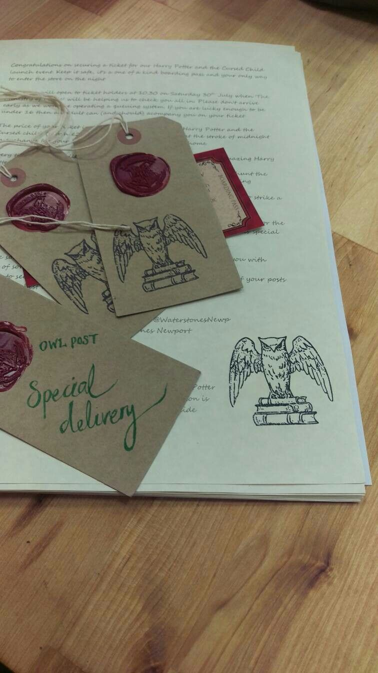 Invites Tickets And Gift Bag Tags Prepping For Our Cursed Child Midnight Launch Event Book Display Launch Event Cursed Child