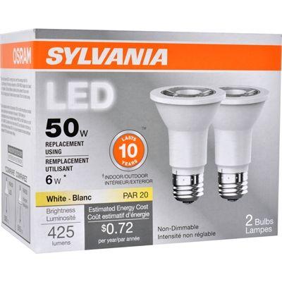 Sylvania 2 Pack 6 Watt 50 W Equivalent 3000 Kelvins Par20 Medium Base E 26 Soft White Indoor Led Flood Light Bulb Led Flood Led Flood Lights Flood Lights