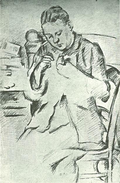 Madame Cézanne Sewing - Paul Cézanne  (French, Aix-en-Provence 1839–1906 Aix-en-Provence)