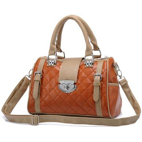 Karasi Dual Tone Brown Diamond Quilted Turn Lock Bowling Style Handbag Satchel Purse Shoulder