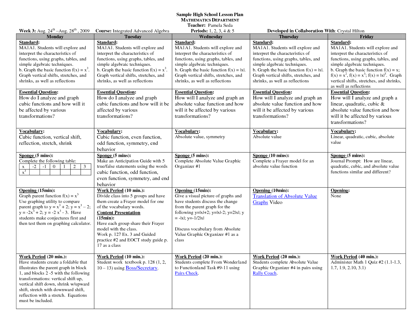 Math lesson plan template high schoolsample hs math weekly for Teachers college lesson plan template