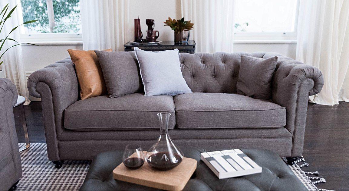 Sonoma 3 Seater Sofa With 2 Cushions And Black Feet Featuring Dune Fabric In Stone Sofa Sofa Furniture Lounge Sofa