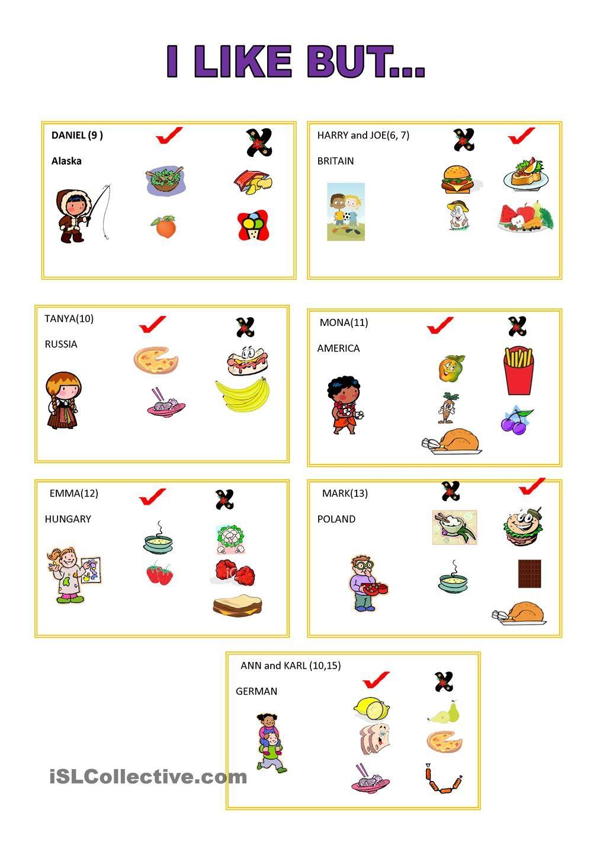 I like but.. - worksheet - kindergarten level | Learn English for ...