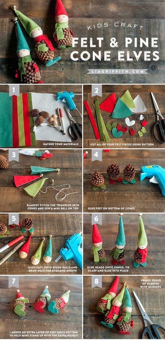 Muñecos con piñas y fieltro   manualidades 2   Pinterest