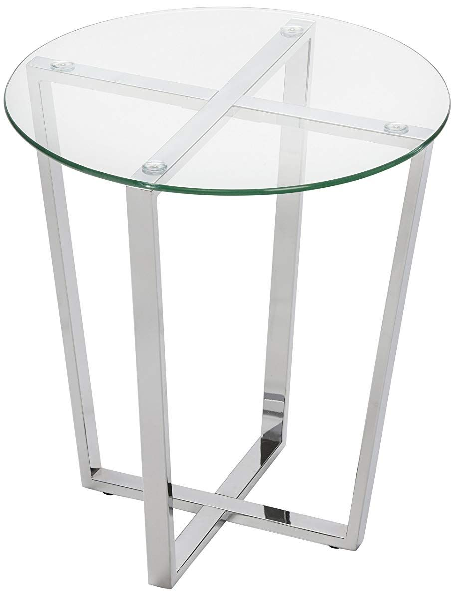 Glass End Table Clear Top Chrome Base [ 1200 x 914 Pixel ]