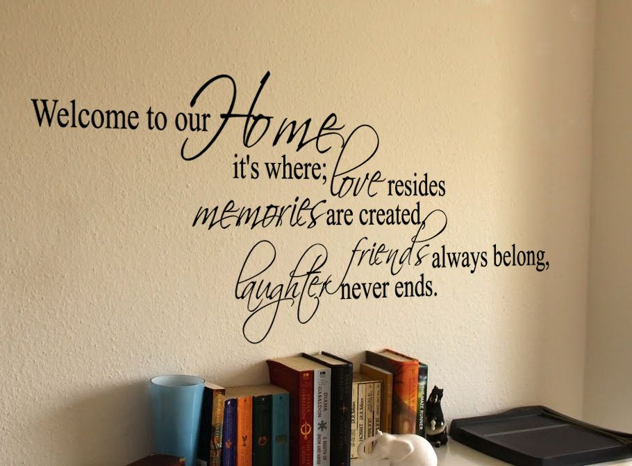 Welcome To Our Home Where Wall Decal Wall Quotes Decals Vinyl Wall Decal Quote Family Wall Decals Quotes