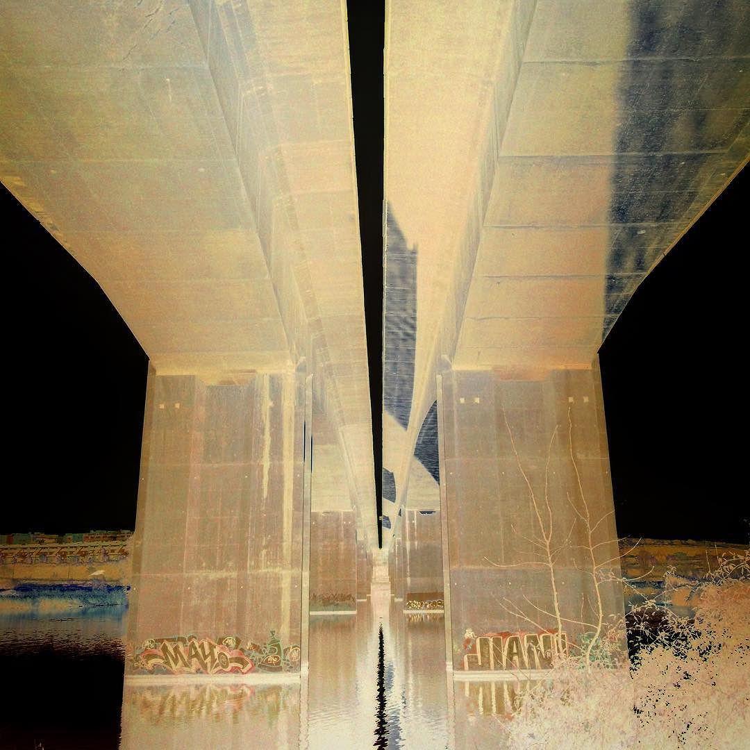 Puentes de la A-5. Río #Guadiana. #lascarreterasdeextremadura #negativo #Mérida #Extremadura