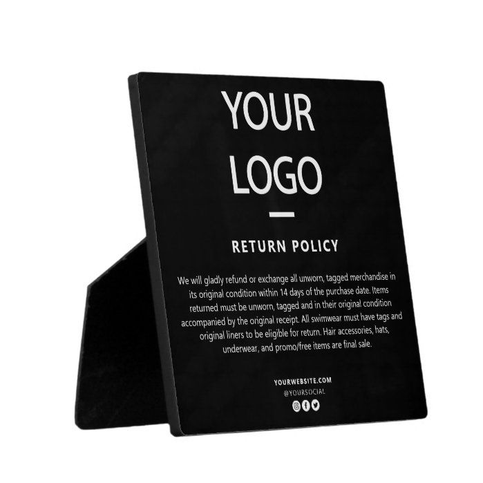 Retail Store Boutique Return Policy Sign Plaque Zazzle Com In 2021 Plaque Sign Policy Signs Retail Store