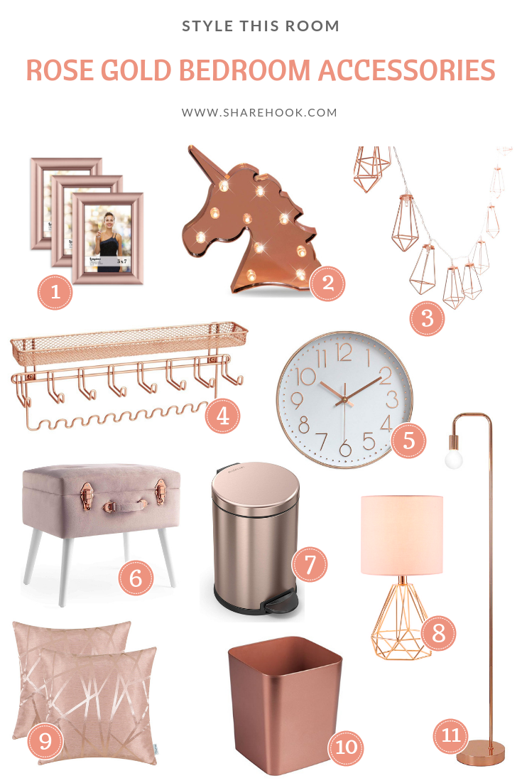Rose Gold Bedroom Accessories Rose Gold Room Decor Gold Bedroom