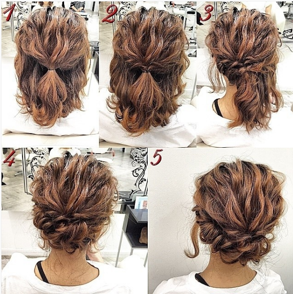 Updo Hairstyle Pretty Good For Women With Textured Hair Is Thin And Smooth This Hairstyle Is Ideal For Women With Simple Prom Hair Hair Styles Short Hair Updo