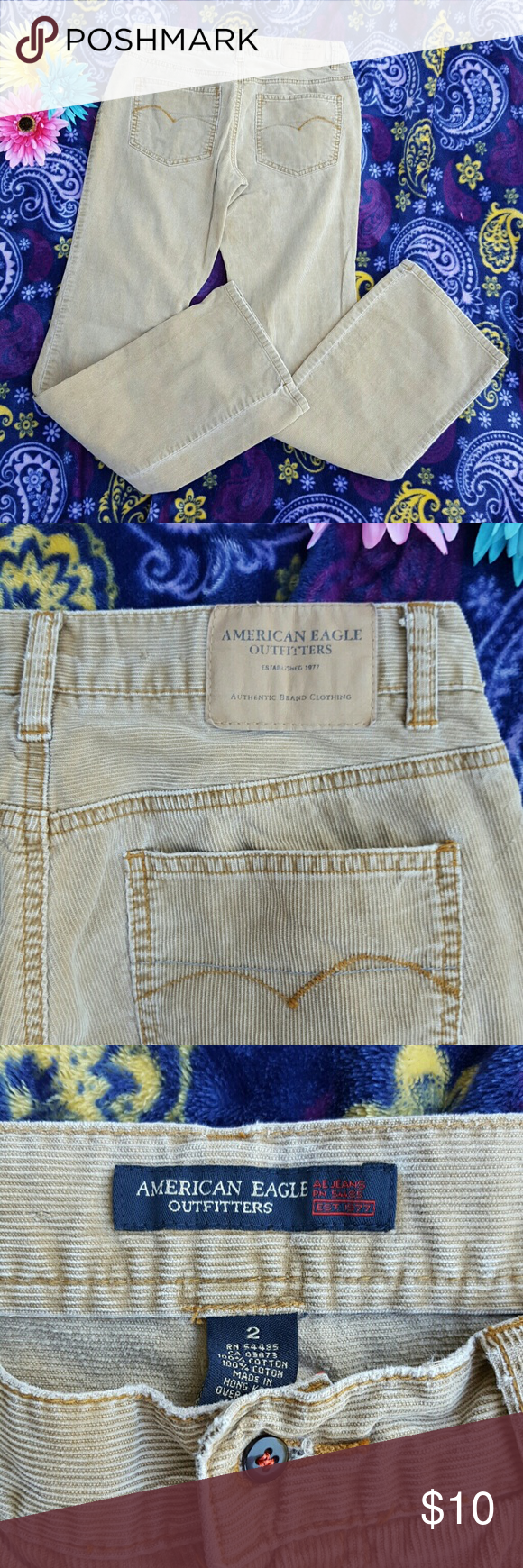 """Cool Cords! - American Eagle Outfitters These are cool beige cords by AEO, sort of vintage lol early 2000's. Really good condition, considering. They've been stored well in a storage bin along with some other great finds, such fun! Size 2, but these run on the bigger side. Have fun in these """"70's feel"""" pants. Wish they fit me! American Eagle Outfitters Pants Boot Cut & Flare"""