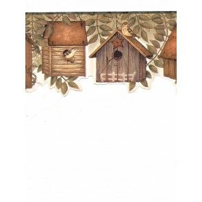 6 7 8 In X 15 Ft Prepasted Wallpaper Borders Birds House Wall Paper Border B49510 Floral Wallpaper Border Wallpaper Border Bird House