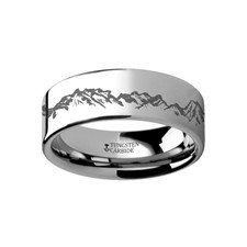 Sunshine Unique Nature Ring Tungsten Mountain Peaks 4mm 6mm 8mm 10mm 12mm Engraved Rings Rings For Men Mens Wedding Rings