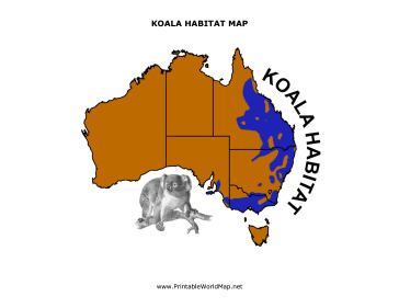 Free Map Of Australia To Print.Featuring A Cute Picture Of A Koala Bear This Printable Map Shows