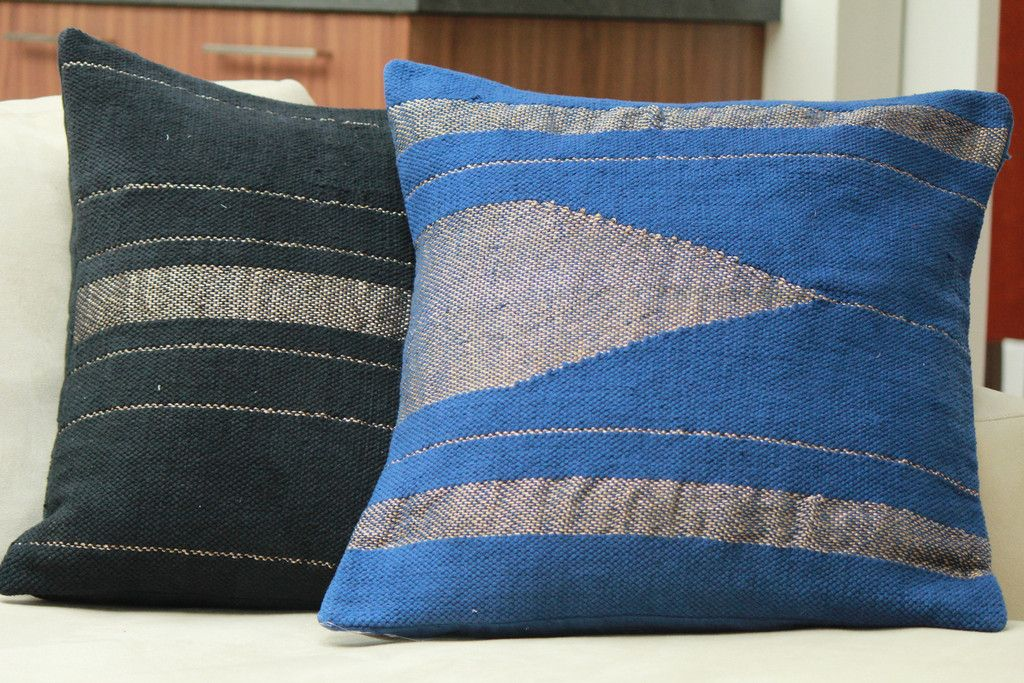 Kilim Zari Pillow Cover - Royal Blue