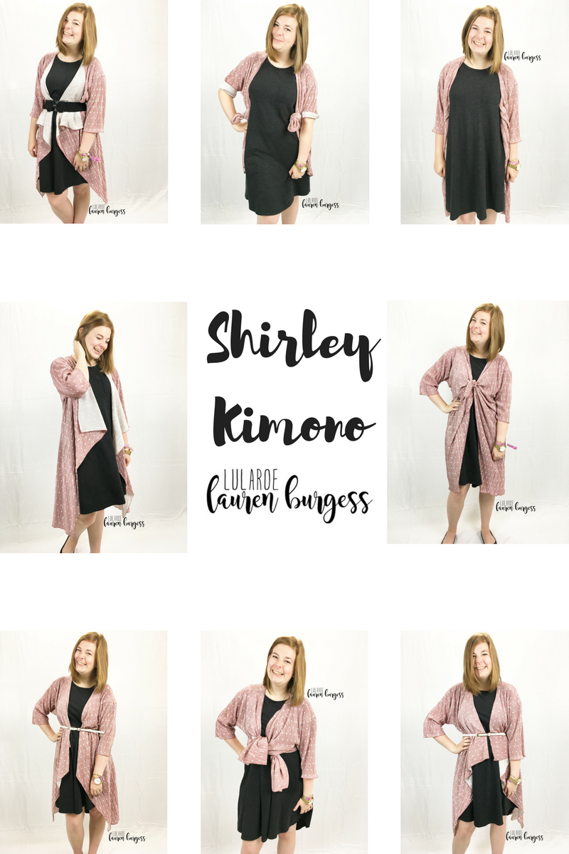 7a073cfdb44476 EIGHT ways to style your new LuLaRoe Shirley kimono!! This beautiful piece  boasts a billowed front, a long backside, and a flowy sleeve to make it  your new ...