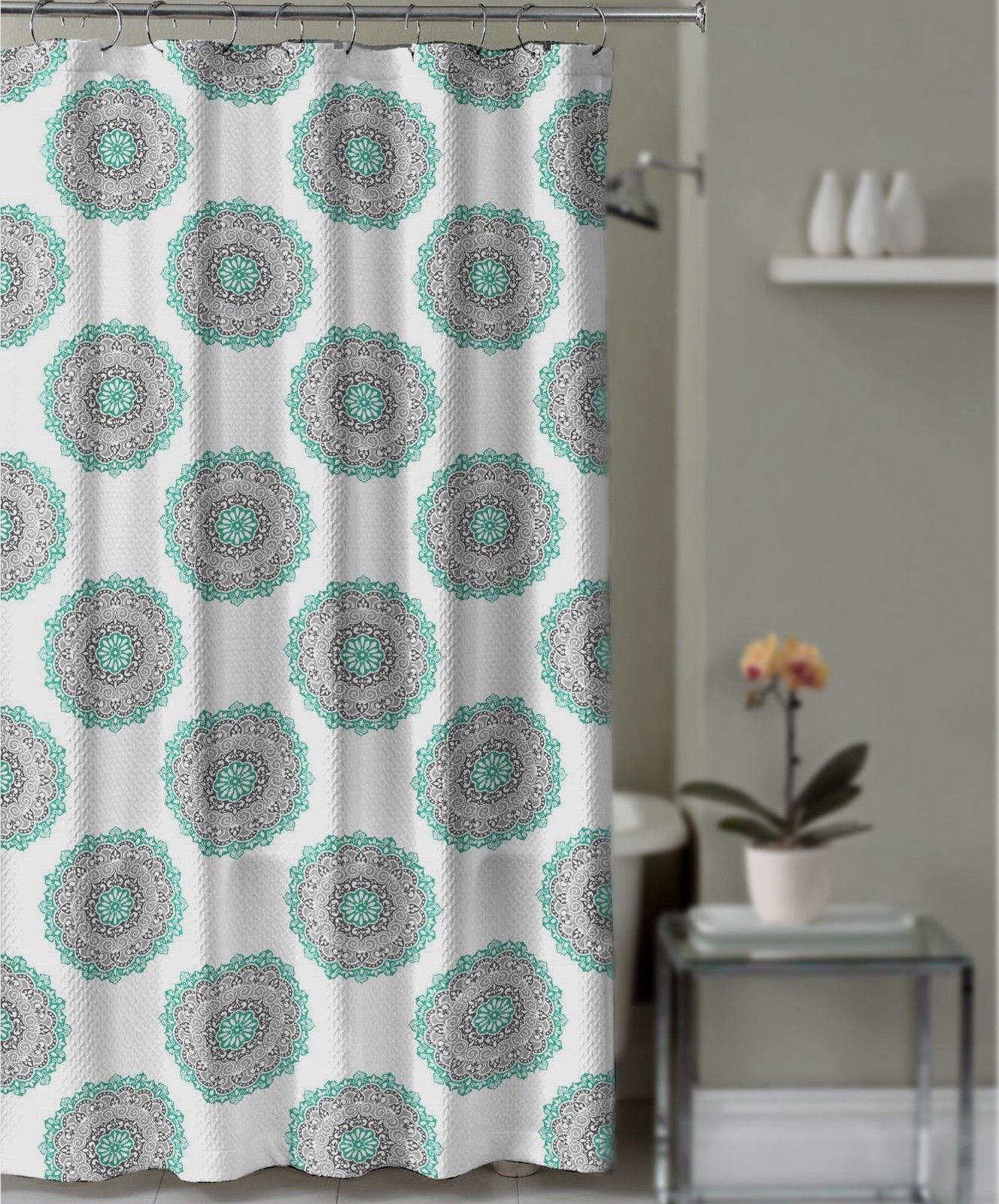 Crest Home Abby Road Shower Curtain Gray And Aqua Teal Medallion