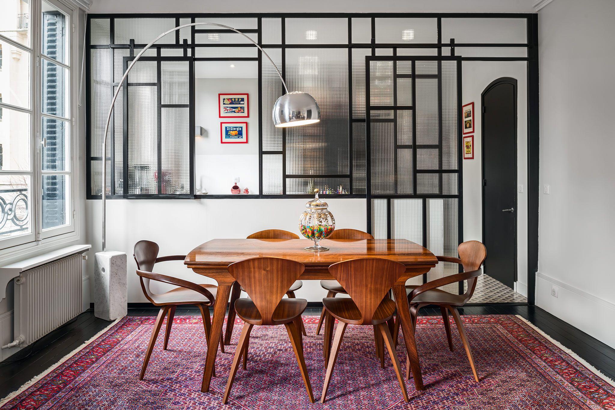 Verri re sur mesure en acier et verre blind s paration entre cuisine et salle manger for Separation cuisine salle a manger