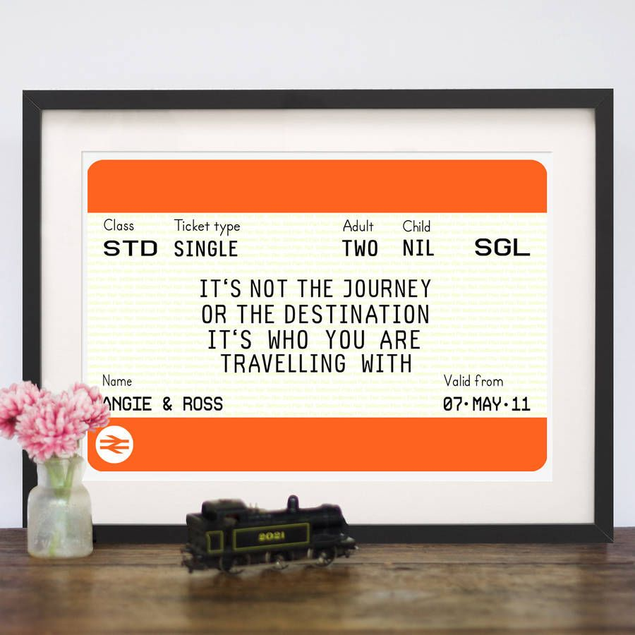 A Personalised Train Ticket Print Featuring Romantic Quote About Our Journey Through LifeThe