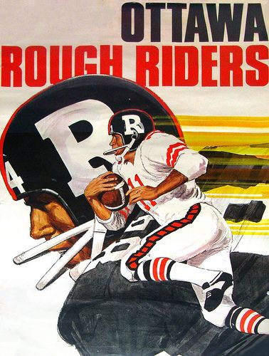 Vintage Ottawa Rough Riders Poster Rough Riders Canadian