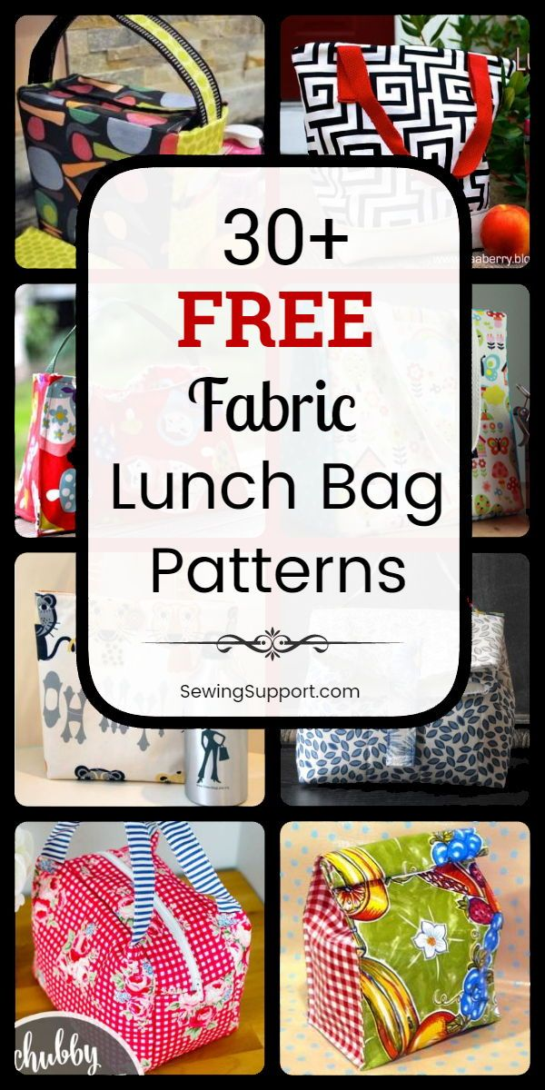Bag Patterns to sew: 30+ free lunch bag patterns, sewing projects, and tutorials, including insulated, drawstring, and tote styles. Great for work, kids, and back to school. Instructions for how to make a fabric lunch bag, box, or sack. #SewingSupport #Lunch #Bag #Pattern #Free #Diy #Tutorial #Fabric #Sewing #bagpatterns