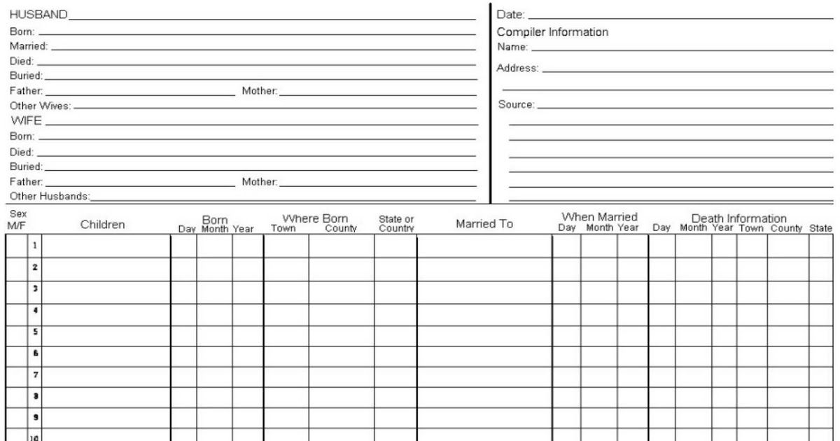 Family Group Sheet Form