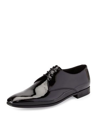 Patent Derby Shoe by Giorgio Armani at Neiman Marcus. Gentleman Shoes c5863ad72