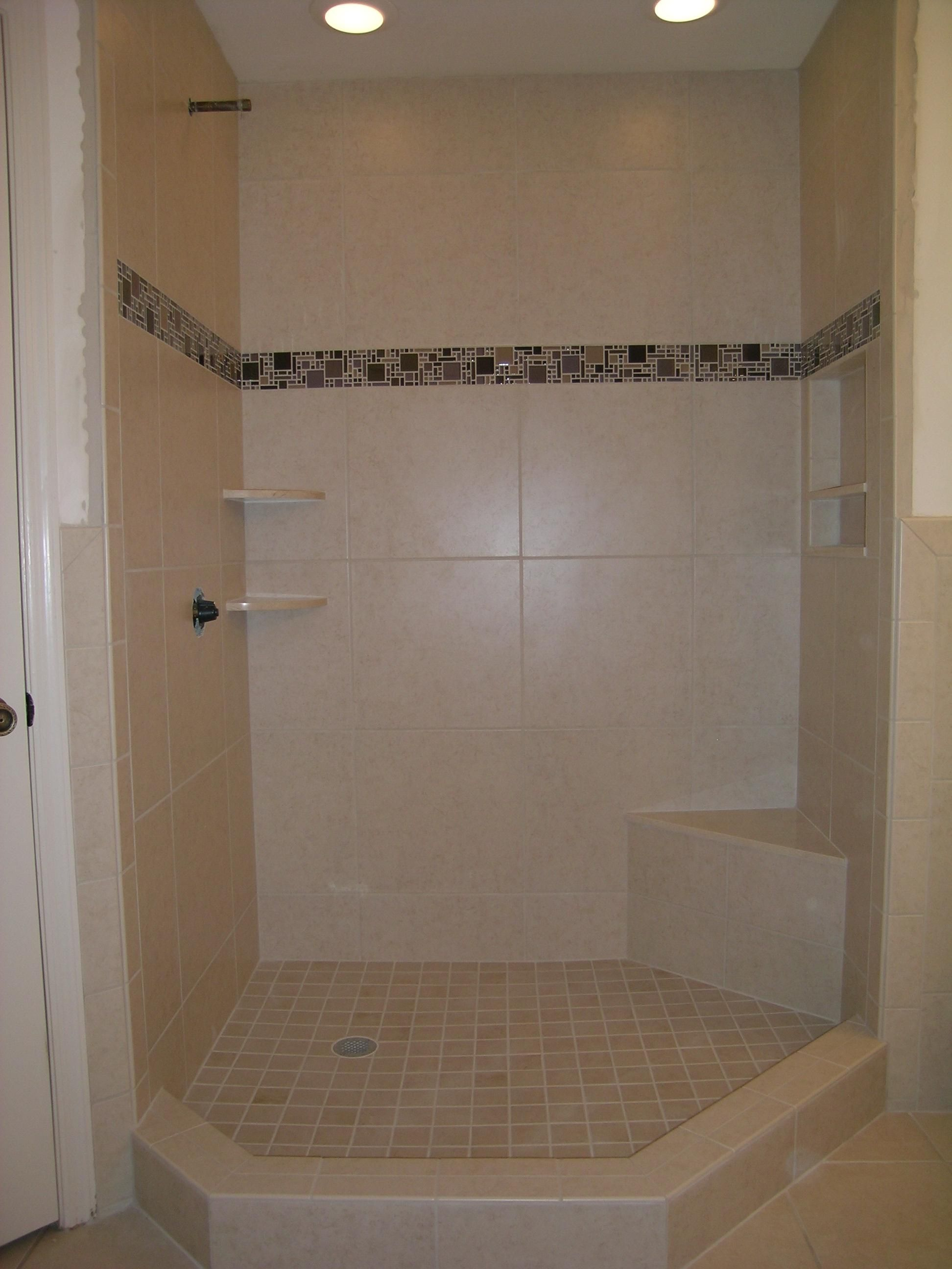 "20""x20"" Porcelain Tile with Glass Mosaic Border. Shower"